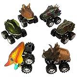 Yeelan 6 unids Tire hacia atrás Dinosaur Cars Dino Truck Toy Mini Dragon Animal Vehículo con Rueda Creativa para niños/Niños/Niño pequeño (5x6x7cm / 2x2.4x2.8in, tamaño pequeño)