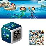 FgyFSAs Luca Alberto Sea Monster 3D Cartoon Digital Clocks - Comes with 50pcs Luca Stickers, 7 Colors Change Square Night Light Alarm Clock, Student LED Light Kids Creative Birthday Gift (Style P)