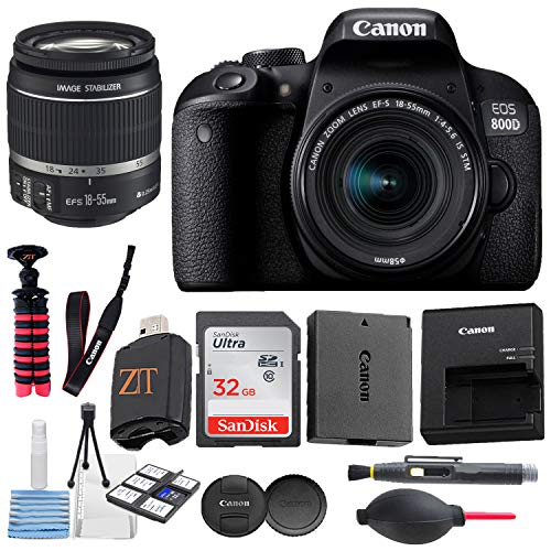 Canon EOS 800D / Rebel T7i DSLR Camera with 24.2MP Sensor, EF-S 18-55mm is STM Zoom Lens, SanDisk 32GB Memory Cards, Tripod + ZeeTech Accessory Bundle