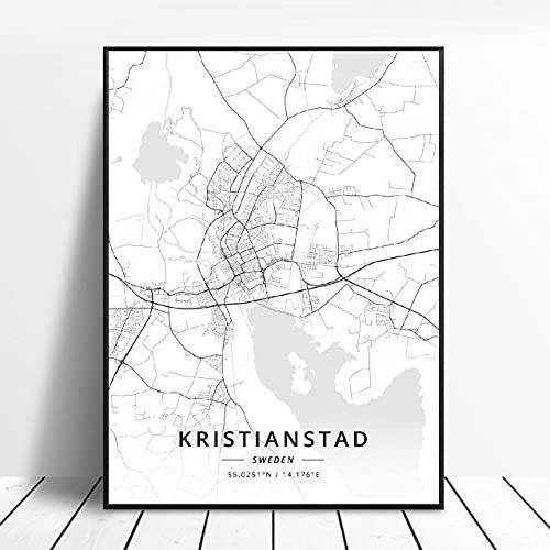 Krlstianstad Gävle Vasteras Eskilstuna Ornskoldsvlk Borlänge Umeå Canvas Art Map Poster ?ZQ-1148? Ingen ram poster 40x50cm