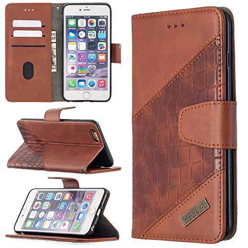 Miagon iPhone 7/8/SE 2020 Stoßfest Brieftasche Hülle Cover,Krokodil Spleißen PU Lederhülle Ständer Kartenfächer Magnetverschluss Silikon Handytasche,Braun