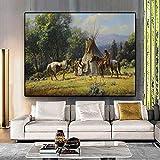 ganlanshu Rahmenlose MalereiAbstract Indian Horse Illustration Ölgemälde Leinwand Poster Prints21X28cm