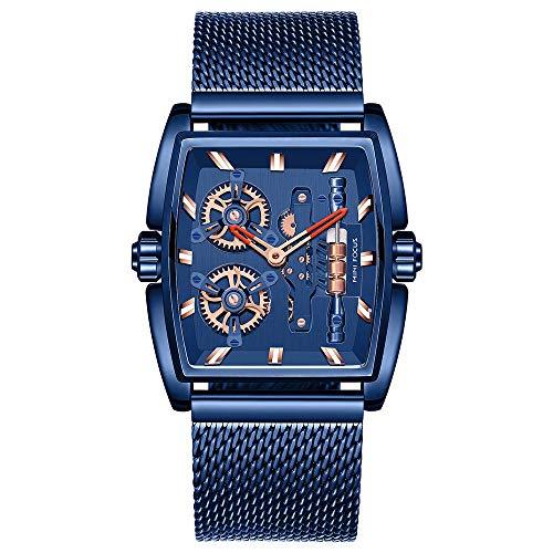Reloj cronógrafo para Hombre - Reloj de diseñador con Correa de Cuero para Caballero - Movimiento de Cuarzo B