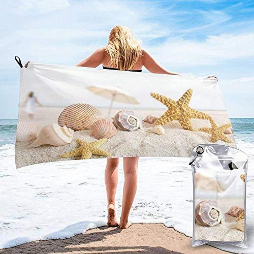 Toalla De Playa De Secado Rápido Conchas Marinas Estrella De Mar En La Playa Toallas De Baño Ligeras De Microfibra Impresas Adecuado para El Hogar Niños Y Adultos Camping Natación Yoga-27.5'X55'