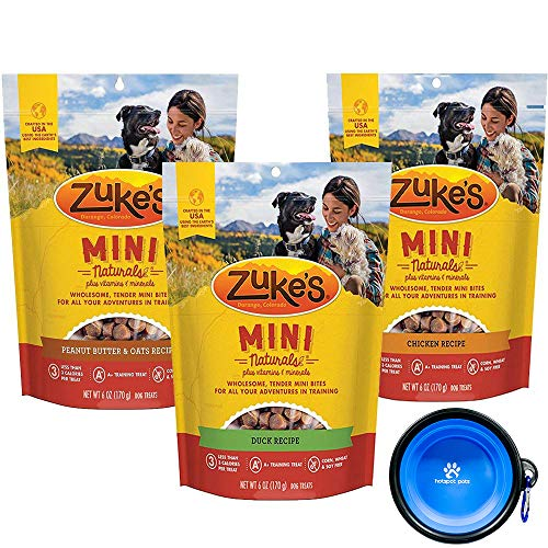 Zuke's Mini Natural Soft Treats - Variety 3 Pack for Dogs - 18 Total Ounces (Duck,Peanut Butter & Chicken) W/ Hotspot Pets Bowl