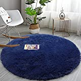 Soft Round Area Rug for Bedroom, 6 ft Navy Blue Circle Rug for Nursery Room,Fluffy Carpet for Kids Room, Shaggy Floor Mat for Living Room, Furry Area Rug for Baby, Teen Room Decor for Girls Boys