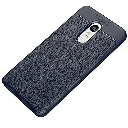 Tianqin Xiaomi Redmi Note4X Cover, Coperture Antiurto Ultra Sottile Cover Protettiva in Silicone Alloggiamento Fibra Carbonio Durevole Soft TPU Custodia Case per Xiaomi Redmi Note4X Case - Blu