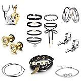 JewelryWe Regalo Original para San Valentín Día de Los Enamorados, Caja de Sorpresa, Juego de Joyas para Su Amor Unico, 14 Piezas Click-Button Set