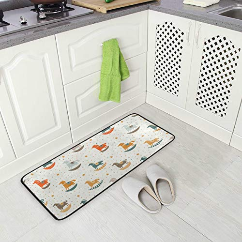 ALINLO - Alfombra antideslizante para suelo de cocina, diseño de caballo de...