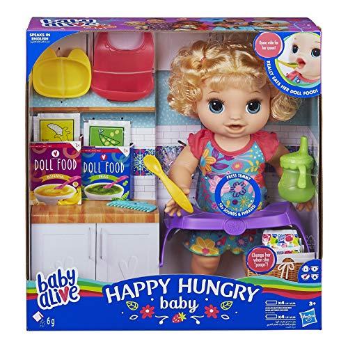 Baby Alive pop met krullend haar, voor meer dan 50 geluiden en spreuken, eet en drinkt en vult je luier, voor kinderen vanaf 3 jaar.