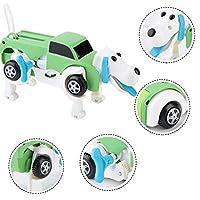 トランスフォーマーのおもちゃ、下部の自動変換犬のホイールデザイン、バリのない滑らかな表面キュートで素敵な外観(green, Deformed dog)