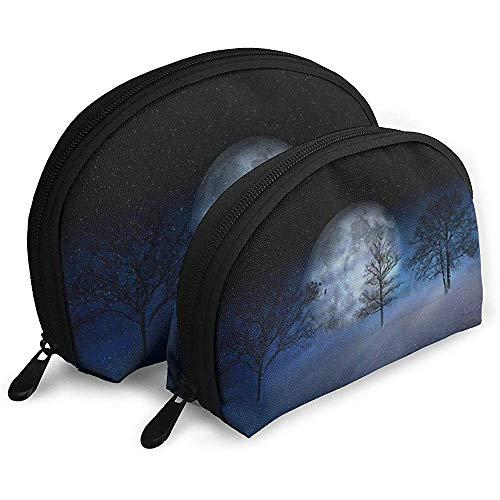 Winter Moon Snow Trees Bolsas portátiles Bolsa de Maquillaje Bolsa de Aseo, Bolsas de Viaje portátiles multifunción Pequeña Bolsa de Embrague de Maquillaje con Cremallera