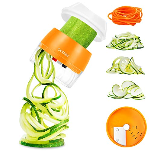 Handheld Spiralizer Vegetable Slicer 3 in 1 Spiralizer Grater Slicer for Vegetables, Spaghetti, Fruit, Thick and Thin Pasta Spirals, Easy to Clean Best for Low Carb/Paleo/Gluten-Free Meals (Orange)