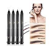 4 en 1 crayon à sourcils imperméable à l'eau combinaison de 4 couleurs stylo de maquillage noir gris brun foncé brun clair crayon à sourcils tournant facile à colorier