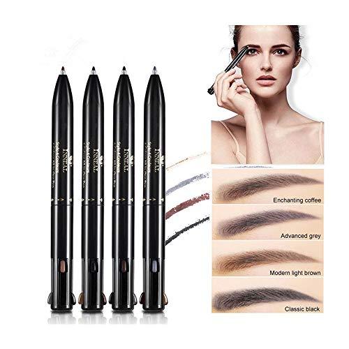 4 in 1 wasserfester Augenbrauenstift 4 Farbkombinationen Make-up Stift schwarz grau dunkelbraun hellbraun rotierender Augenbrauenstift einfach einzufärben