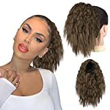 Sidaila Short Ponytail for Black Women, Drawstring Ponytail Curly Hair Extension Synthetic Pony Tails Corn Wave Ponytail HairPieces for African American Women (8/27#)