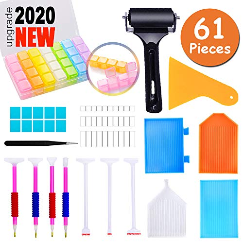 61 Pieces 5D Diamond Painting Tools Accessories Kits, Included Diamond Painting Roller Glue Clay Pens Embroidery Storage Box for Adults Kids Diamond Art Tools Supplies
