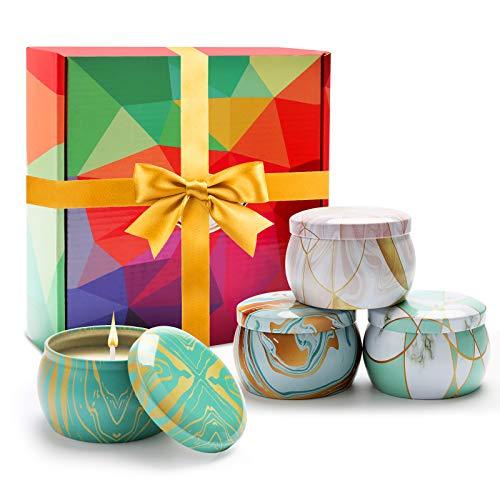 Juego de 4 velas perfumadas de hojalata decorativa, ideal como regalo para el día de la madre, boda, baño, yoga, regalo para mujer, alivio del estrés y aromaterapia