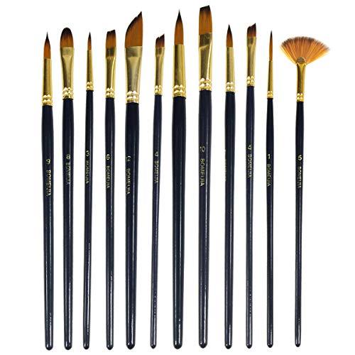 Pinceles de pintura 12 Unidades Nylon Pelo Acrílico Acuarela Pincel Set Profesional Artista Pintura Suministros para Aceite Gouache Craft Modelo Cara Pintura