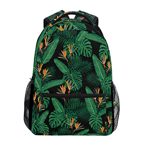 Wamika Tropical Palm Fronds Leaves Sac à Dos imperméable à bandoulière Sac à Dos de Sport Motif Floral Vert hawaïen Sac de Voyage pour Enfants garçons Filles Femmes Hommes