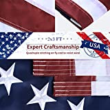 auryee American Flag 2x3 FT Outdoor Made in USA, Heavyweight Sturdy Fade Resistant 210D Polyester US Flag, Double-Stitched Embroider Stars Sewn Stripe Brass Grommets Indoor USA Flag with 2 USA Decal
