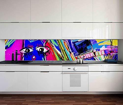 Aufkleber Küchenrückwand Katze bunte Farben Graffiti Linien Küche Folie selbstklebend Dekofolie Fliesen Möbelfolie Spritzschutz 22C140, Höhe x Länge:60cm x 300cm