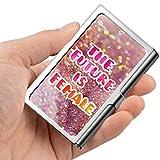 Tarjeta de visita profesional, estuche de billetera de acero inoxidable Titular de la tarjeta de identificación de tarjeta de crédito El futuro es femenino