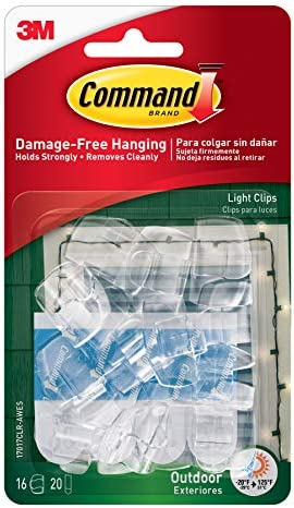 3M 17026CLR-VP Command Clear Decorating Clips for Christmas and Fairy Lights, Value Pack of 40 Clips and 48 Clear Command Adhesive Strips, 6.7 in*1.05 in*3.8 in