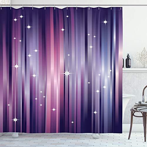 "Ambesonne Eggplant Shower Curtain, Abstract Colourful Beams Backdrop with White Stars Space Inspired Purple Lines, Cloth Fabric Bathroom Decor Set with Hooks, 75"" Long, Purple Blush"