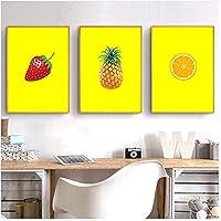 北欧の果物キャンバス絵画黄色の背景パイナップルストロベリーレモンポスター壁アート写真フレームなし