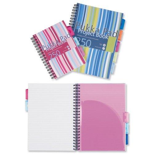 Set de 3 cuadernos Pukka Pad de espiral doble y tapa dura en tamaño A5, con 250 hojas microperforadas, papel de 80 g/m², rayas de 8 mm, incluye 3 separadores, diseño de rayas multicolor