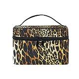Bolsa de maquillaje, funda de viaje portátil con estampado de piel de leopardo de animales y bolsillos organizadores para niñas y mujeres
