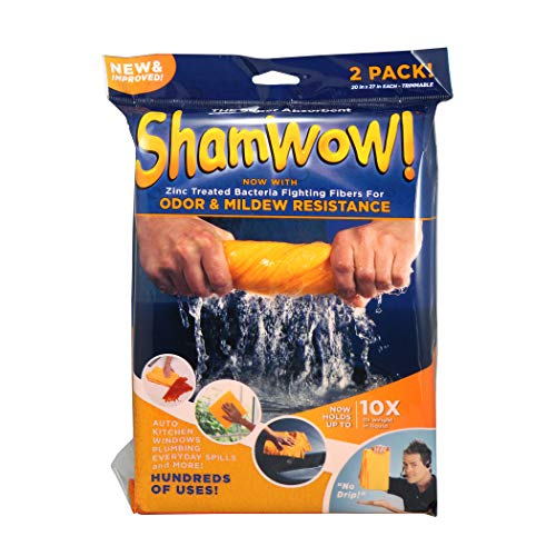ShamWow- New & Improved Super Absorbent Multipurpose Cleaning Cloth Chamois Towel- Zinc Treated Odor & Mildew Resistance Fibers (2 Pack)