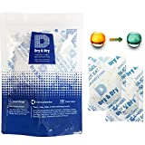 Dry & Dry 20 Gram [10 Packs] Premium Desiccant Food Safe Orange Indicating(Orange to Dark Green) Mixed Silica Gel Packets Dehumidifer - Rechargeable Silica Packets for Moisture Absorbers