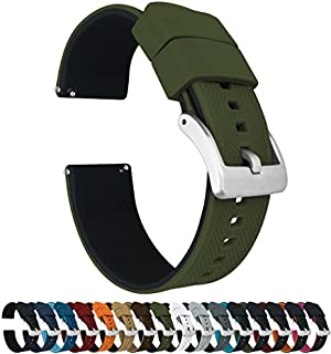 19mm Army Green/Black - Barton Elite Silicone Watch Bands - Quick Release - Choose Strap Color & Width