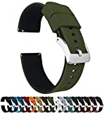 22mm Army Green / Black - BARTON Elite Silicone Watch Bands - Quick Release - Choose Strap Color & Width