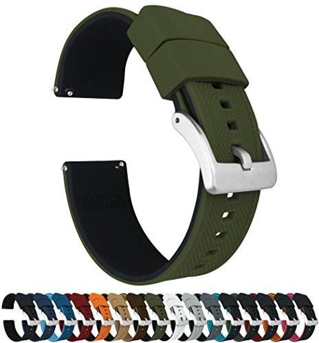 22mm Army Green/Black - Barton Elite Silicone Watch Bands - Quick Release - Choose Strap Color & Width