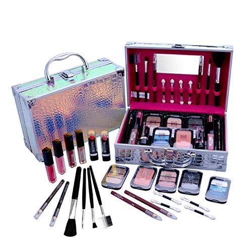 Juego de maquillaje profesional de 24 piezas y organizador portátil de viaje para principiantes