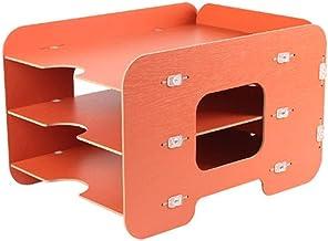 GZWXJY Szafki Do Plików Uchwyt Plik Drewniane Plik Rack Rack Desktop Box Three Layer Magazine Creative Information Cabine...