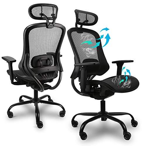Ergousit Ergo 3D Ergonomic Office Chair - Mesh Computer Desk Chair - High Back Chair with Height Adjustable Lumbar Support and 3D Armrest- Swivel Executive Drafting Chair (Black)