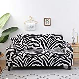 Surwin Funda de Sofá Elástica para Sofá de 1 2 3 4 plazas, Impresión Universal Cubierta de Sofá Cubre Moda Sofá Antideslizante Sofa Couch Cover Protector (Patrón de Cebra,3 plazas - 190-230cm)
