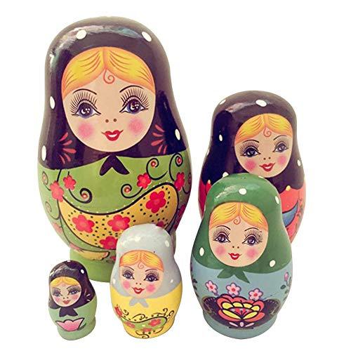 Starter Matryoshka russe - 5 couches faites à la main souhaitant un ensemble de poupées russes - un petit ventre matryoshka poupées peintes - un ensemble de poupées empilables, 11cm