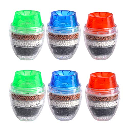 XM-ZHHY Grifo de Agua de carbón Activado, Cartucho de Filtro purificador Limpio de 6 Piezas Grifo de Agua, Filtro de Grifo de Interfaz Universal con un Elemento filtrante (Filtración de 6 Capas)