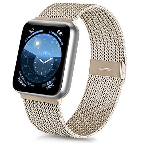 Meliya kompatibel mit Apple Watch Armband 38mm 40mm 42mm 44mm, Metall Edelstahl Ersatzarmband für iWatch Series 5 4 3 2 1 (06 Champagner, 42mm/44mm)