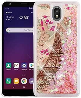 Kaleidio Case Compatible for LG Escape Plus, Arena 2, K30 (2019) [Quicksand Glitter] TPU Gel Slim Hybrid Skin Cover [Liquid Eiffel Tower & Pink Stars]