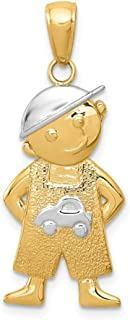 14k Yellow Gold Boy Hands In Pockets Pendant Charm Necklace Kid Baby Fine Jewelry Gifts For Women For Her
