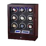 YQTXDS Scatola avvolgitore per Orologi, Scatola per Orologi per 9 Orologi con Scatola per Orologi Unisex Automatica Quad in Legno Chiaro a LED, Display LCD Touch