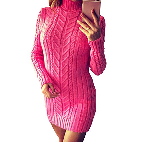 Zyyfly Women Turtle Neck Pencil Dress Chunky Knit Sweater Rose Red M