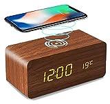 HZDHCLH Réveil de chargeur sans fil LED Ticking numérique en bois, chargement sans fil QI for...