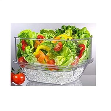 Prodyne Flip-Lid Salad On Ice Bowl with Lid Set, 10 , Clear